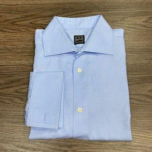 Ike Behar Blue French Cuff Dress Shirt 15.5 34/35